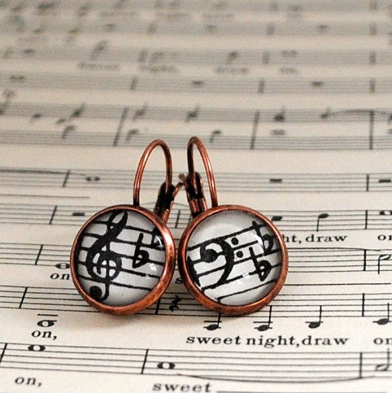 Harmony Music Note Earrings Vintage Copper by NaturallyHeartfelt