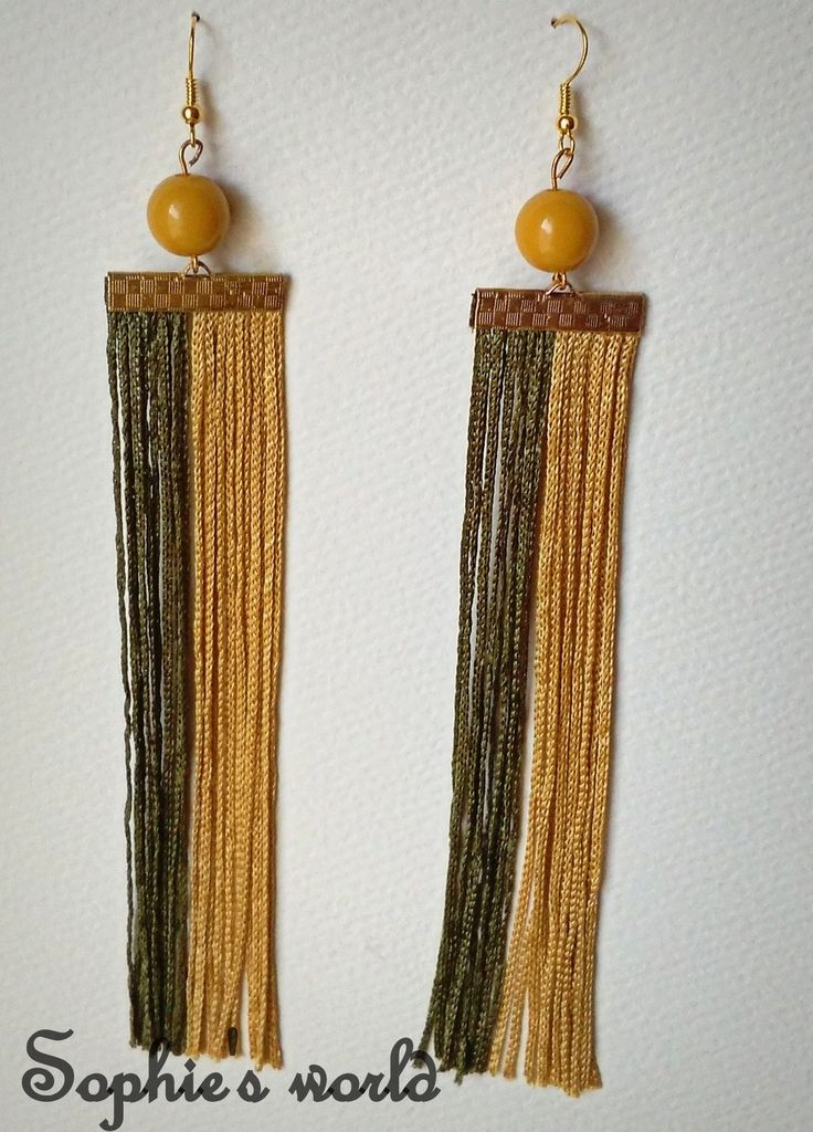χειροποίητα μακριά σκουλαρίκια κρόσσια χρυσό λαδί #fringes #earrings #handmade #accessories  https://www.facebook.com/SophiesworldHandmade/