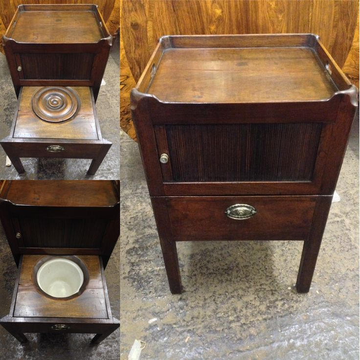 Antique mahogany George lll commode containing original pot and lid