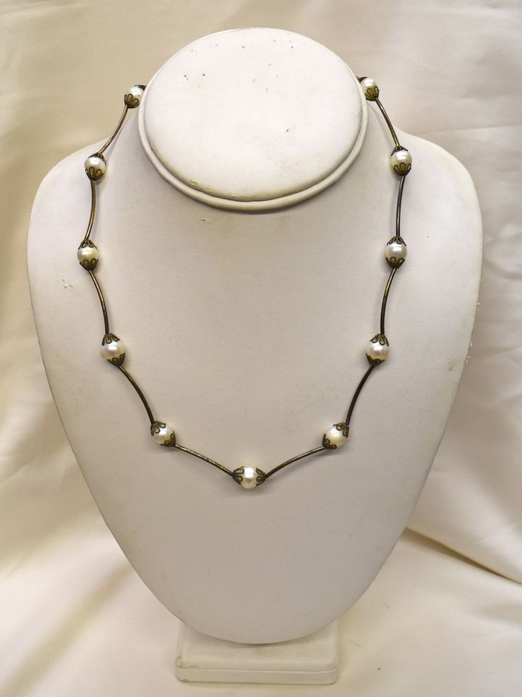 Vintage Round Pearls Set in Silver Necklace