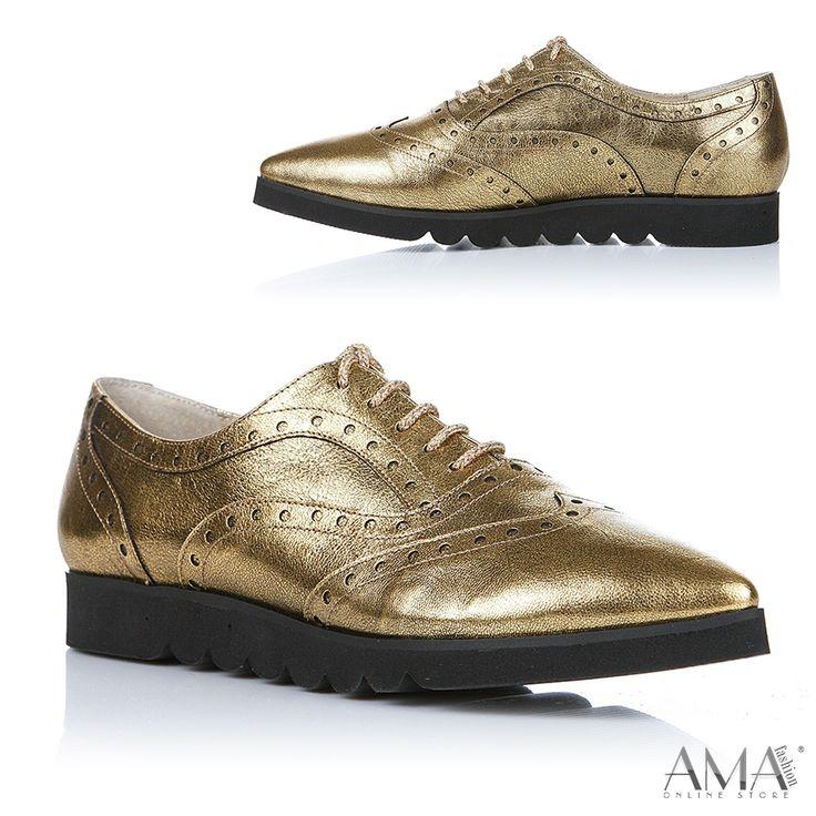 Pantofi oxford aurii din piele naturala, cu talpa neagra. Model foarte usor. Fabricat din Romania.