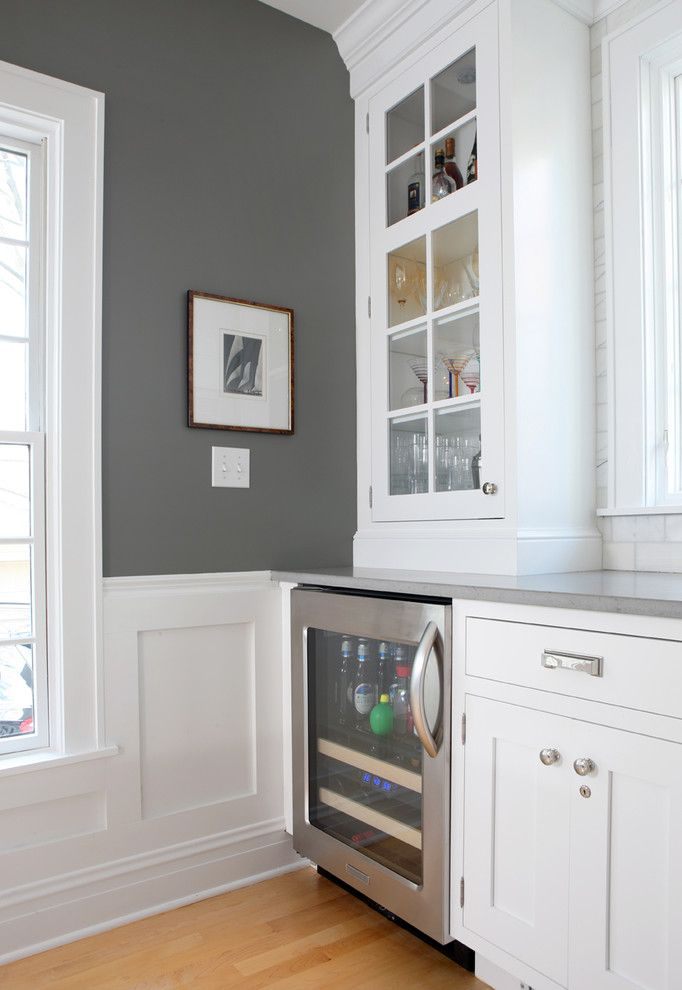 Innovative locking liquor cabinet in Kitchen Traditional with White And Grey Kitchen next to Benjamin Moore Gray alongside Grey Walls and Wood Floor Trim