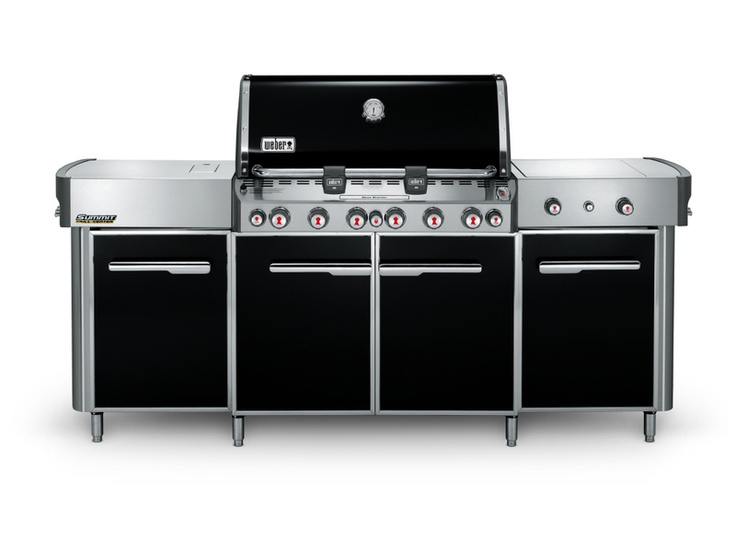 Backyard Bash » Weber Outdoor Kitchens -- Weber's premium Summit grill islands are equipped with plenty of storage and nifty features, like built-in wood chip boxes, infrared rotisserie burners, motor powered rotisseries, handle lights, Sear Stations and more.