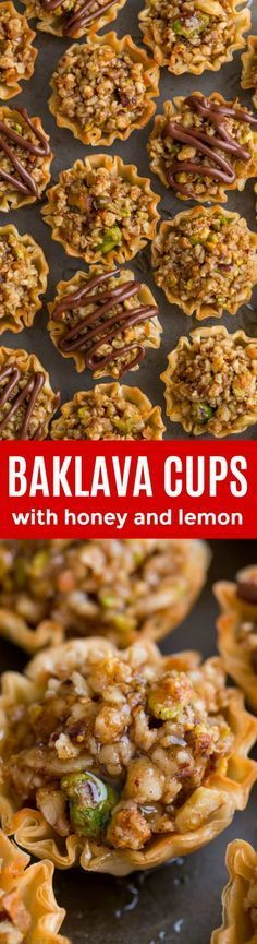 Mini Baklava Cups taste like authentic baklava but easier! The honey and lemon syrup make these baklava cups completely irresistible. A make-ahead recipe sponsored by @athensfoods | natashaskitchen.com