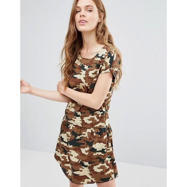 Noisy May Carlos Camo Print Tea Dress (40 CAD) ❤ liked on Polyvore featuring dresses, brown, tea dress, brown cotton dress, camo dress, tea party dresses and camoflauge dress