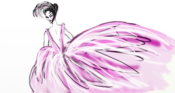 """Belle Epoque pink lady"". A fashion illustration designed by Lisa Carboni. www.lisacarboni.it"