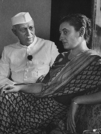 Jawaharlal Nehru and his daughter Indira Gandhi