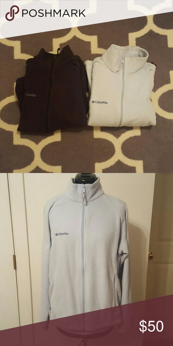 Columbia fleece bundle Very well loved but still have a lot of life left in them! Full zip, long sleeve fleeces with pockets. Both are a Women's Large, but run small (probably closer to a medium)! Columbia Jackets & Coats