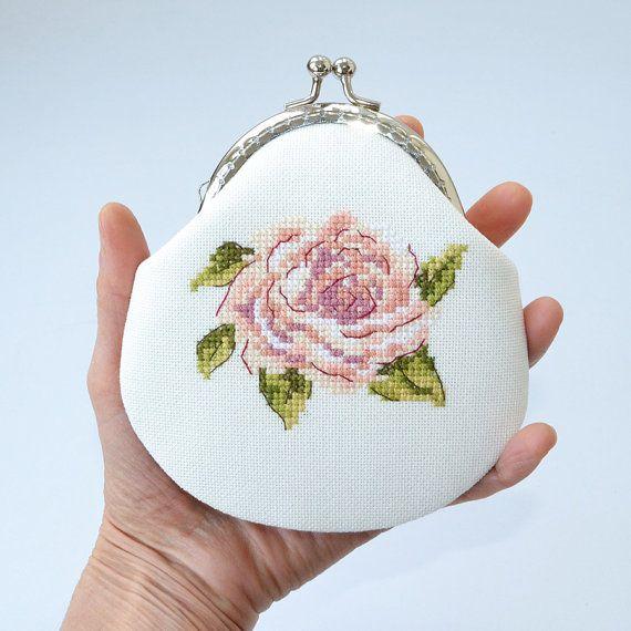 Rose purse small coin purse coin pouch change purse by Anilachan