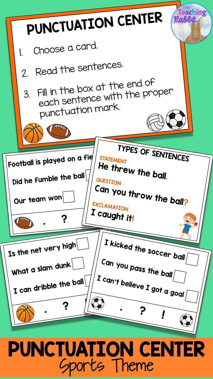 Punctuation Activity Sports Theme In 2020 Punctuation Activities Making Sentences Literacy Centers