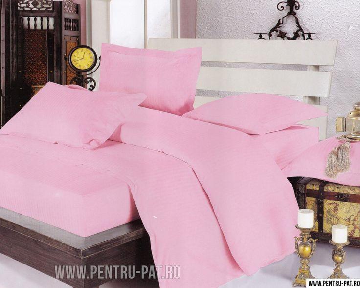 Lenjerie+de+pat+damasc+Pucioasa+roz