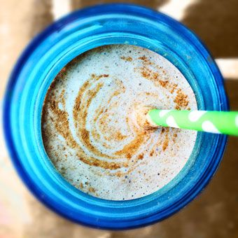 "CHD approved ""Eggnog"" Smoothie is packed with eggs, nutmeg, cinnamon, flax-seed and almond butter for flavorful twist on a classic smoothie."
