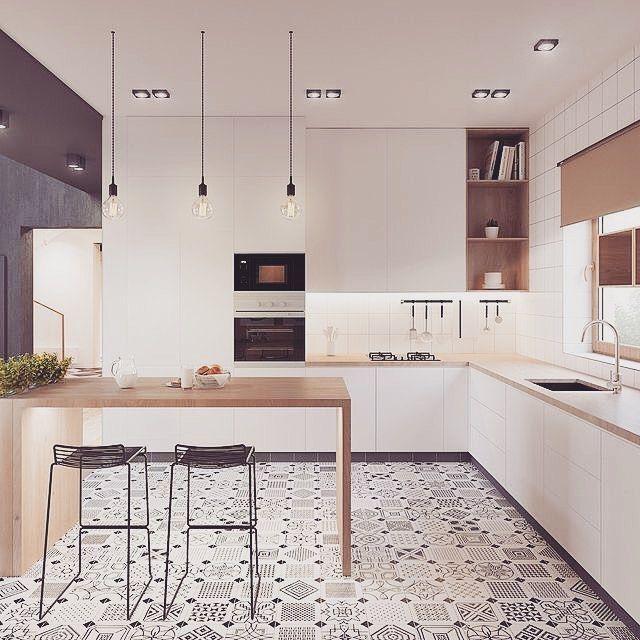 """73 Likes, 3 Comments - Luiza Monari Cunha (@luizamonari_arquiteta) on Instagram: """"Bom dia!! Cozinha toda branca com detalhes em madeira clara. O destaque é do piso em patchwork PB.…"""""""