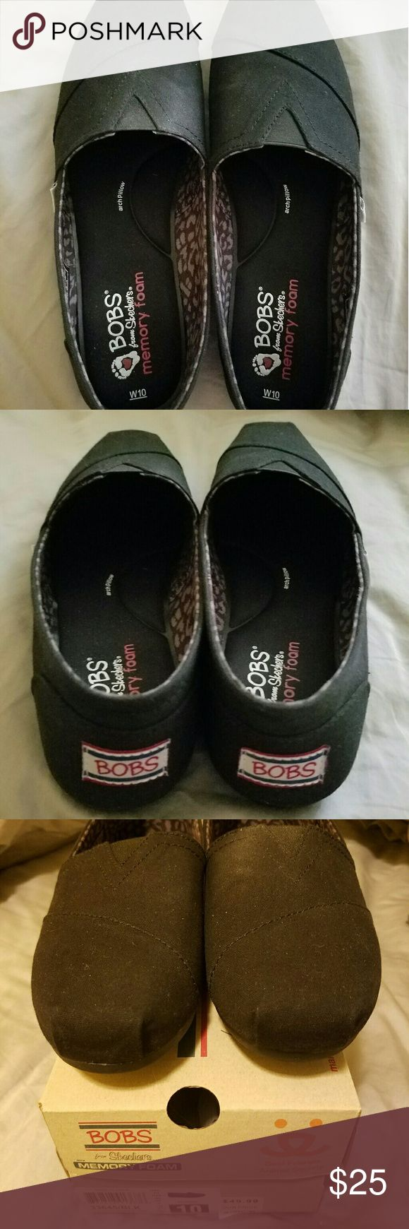 Black Pair of Bob's Shoes Only wore once, they are a little big for me.  Size 10W, have the original box.  Smoke free and pet free home. Skechers Shoes