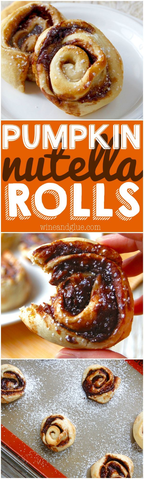 Pumpkin Nutella Rolls! The delicious flavors of pumpkin and Nutella swirled together in a delicious pinwheel. Super simple to make and incredibly delicious!