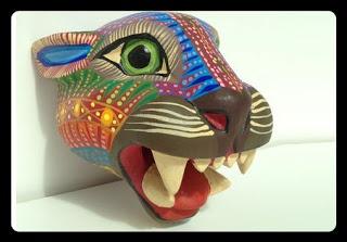Oaxacan Wood Carvings | Alebrije | Alebrijes | Mexican Alebrijes | Mexican Art | Mexican Folk Art | Mexican Decorations ♥ Oaxacan Wood Carvings Alebrije Jaguar Head by Zeny Fuentes $160.00