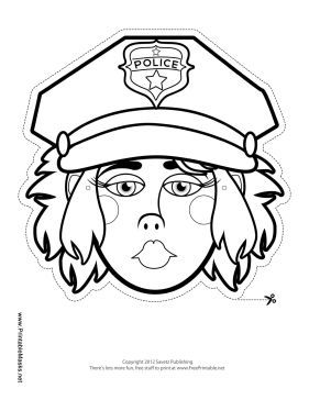 This blank police officer mask has a big hat with a police shield on it. Her long hair and big lips will be extra fun to color in. Free to download and print