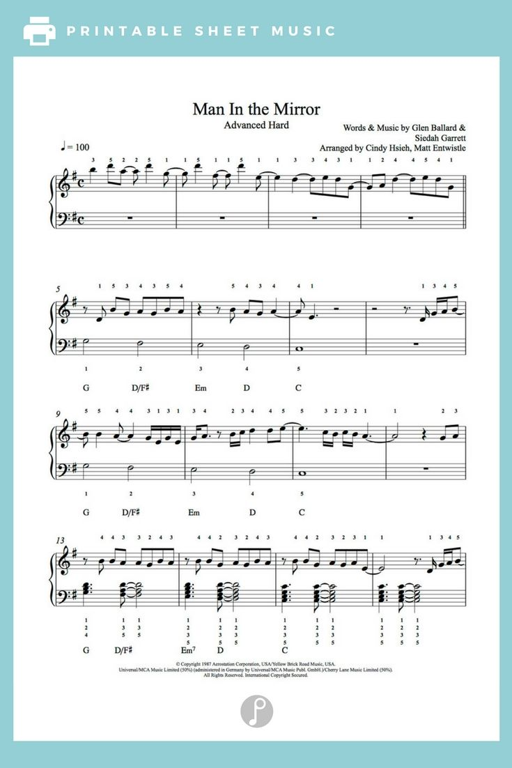 Man In The Mirror By Michael Jackson Piano Sheet Music Advanced