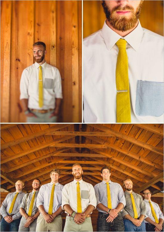 yellow tie button down shirt groomsmen