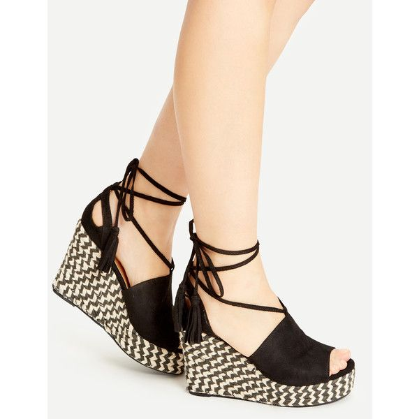 SheIn(sheinside) Black Peep Toe Lace Up Wedge Sandals (1,870 INR) ❤ liked on Polyvore featuring shoes, sandals, black flatform sandals, lace up wedge sandals, black sandals, black chunky sandals and flatform sandals