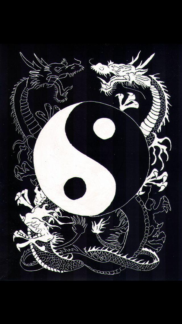 Pencil Drawing Yin Dragoes Yin Yang Ilustracoes