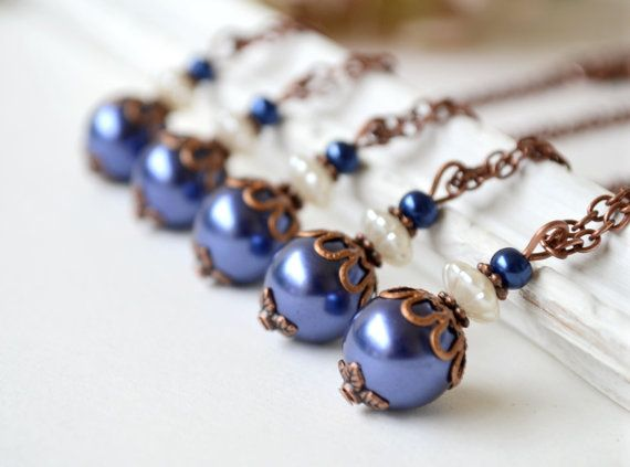 Navy blue bridesmaid necklace navy blue by ArtemisBridalJewelry, $11.00