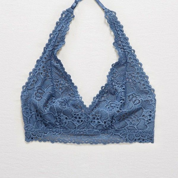 Aerie Boho Lace Halter Bralette ($16) ❤ liked on Polyvore featuring intimates, bras, blue, lace bra, halter-neck tops, blue bra, halter tops and lace halter top