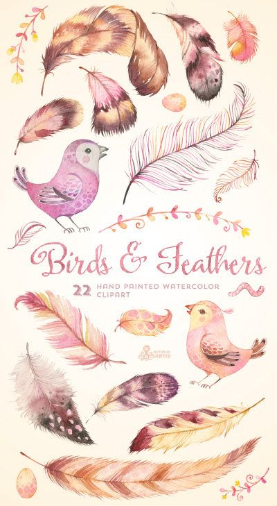 Birds & Feathers Clipart, Heart. Hand painted watercolor, wedding diy elements, print, invitation, greeting, egg, romantic, feathers, floral