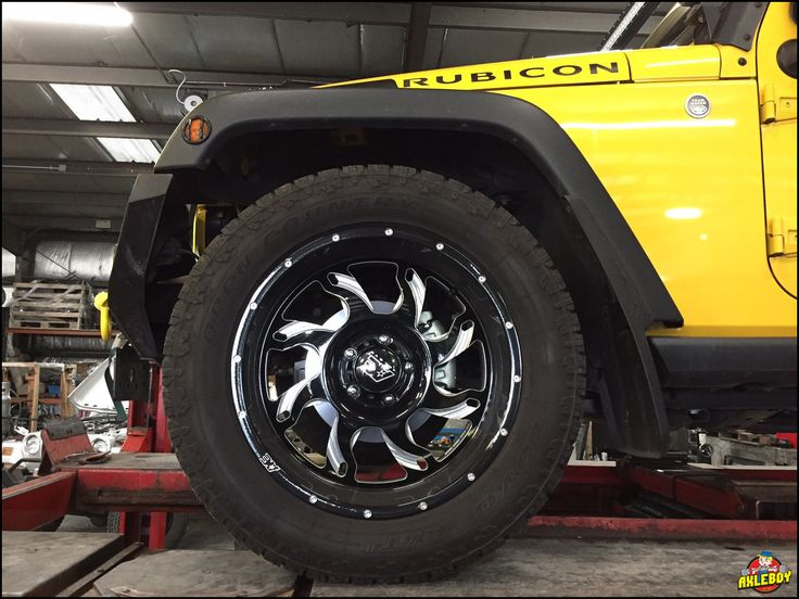 Toyo Open Country A/TII tires and AE Alloy wheels under an awesome yellow Jeep Wrangler (JK). ___________________________________________ #Axleboy #offroad #Jeep #Wrangler #Rubicon #yellow #Toyo #AEAlloy #tire #wheel #jeepshop #missouri #ofallon #stl #jeeplife #jeepthing #olllllllo