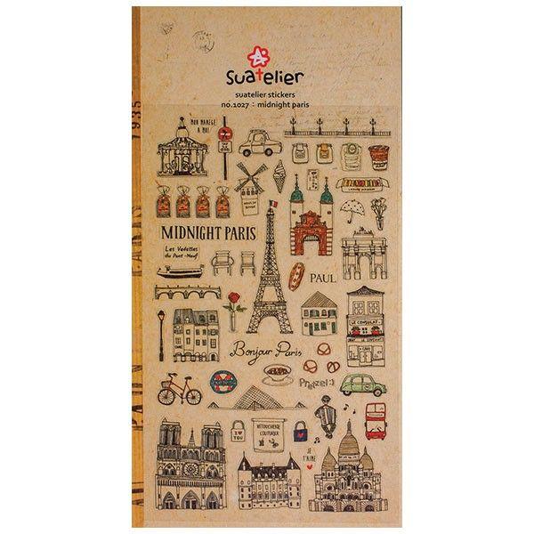 De charmants stickers Paris France pour loisirs créatifs