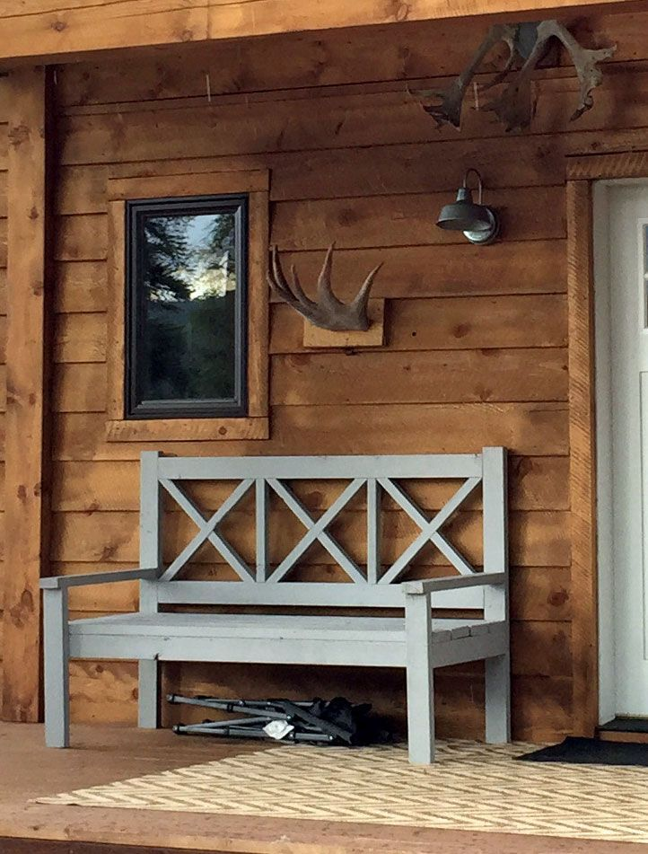 Large outdoor porch bench X back wood diy plans tutorial gray painted wood stained siding ANA-WHITE.com