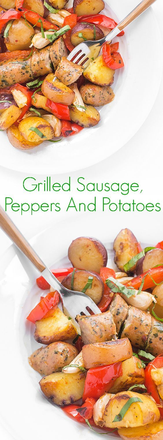 Grilled Sausage, Peppers And Potatoes - The ultimate mess-free dinner recipe, these delicious sausage, pepper and potato grilling packets are easy to make and fun to eat!