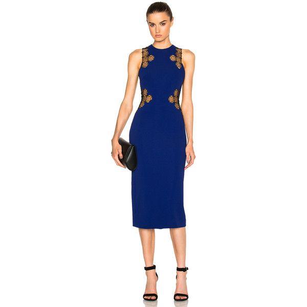 David Koma Lace Back Dress ($1,855) ❤ liked on Polyvore featuring dresses, zipper back dress, embroidered dress, lace back dress, embroidery dress and david koma dress