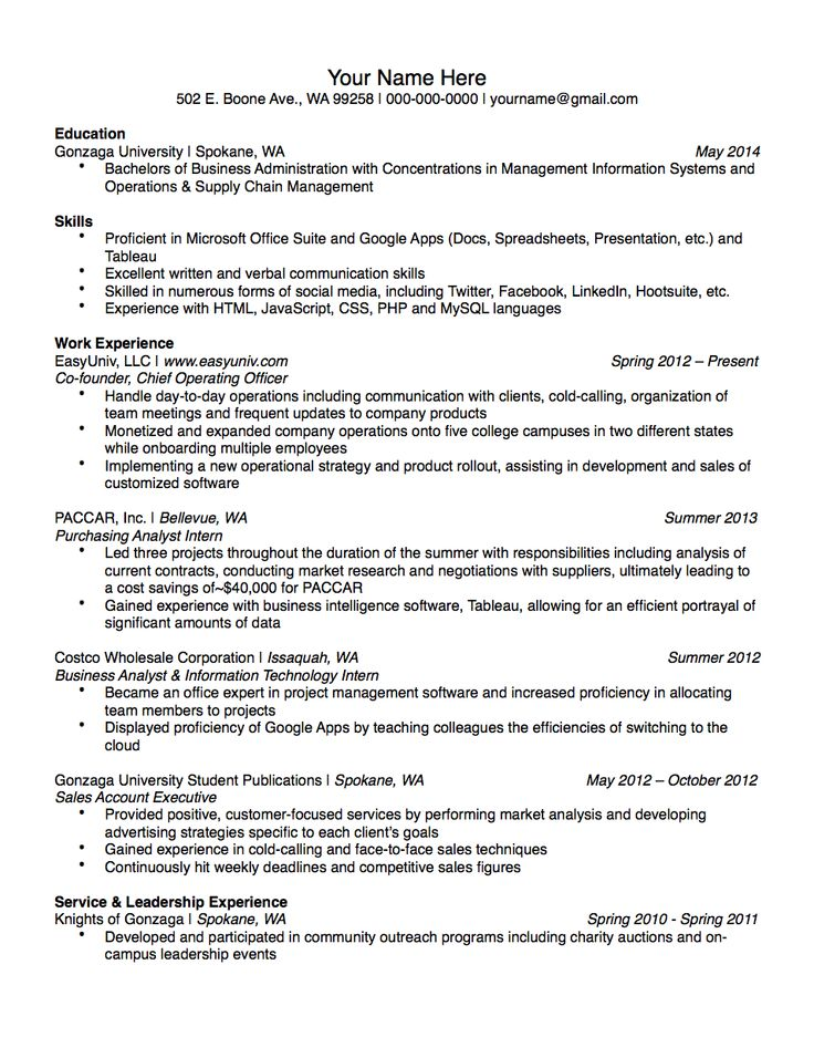 Gonzaga University Sample Student Résumé Résumé Samples - information technology intern job description