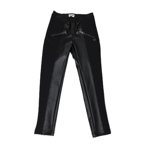 Colanti double troubleDoua materiale inseamna de doua ori mai mult chic! O super combinatie, pentru micile fashioniste. Ext: 65%Raion 30%Poliester 5%Elastan; Ext: 60%PVC 40%Poliester;