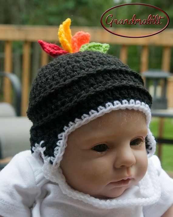 CLASSIC HOCKEY HELMET Crocheted Hat with Feathers by Grandmabilt, $18.00