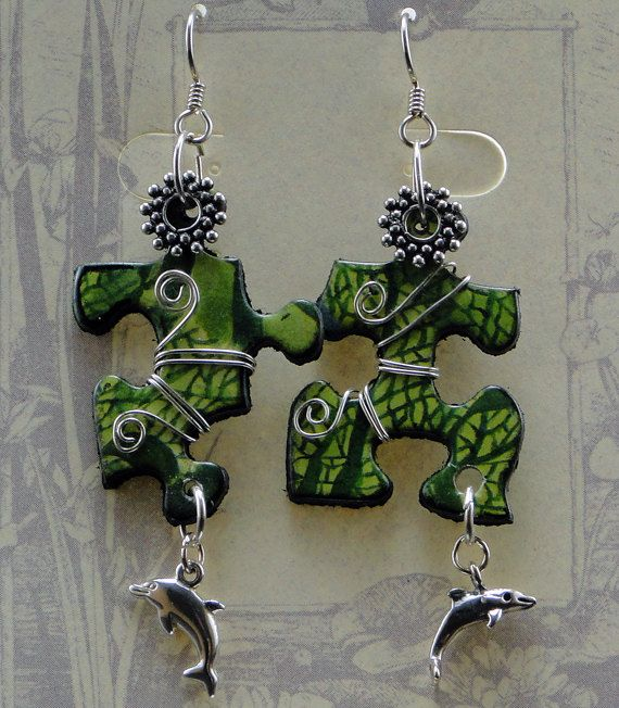 Upcycled Jigsaw Puzzle Earrings Sterling Silver by WilderBaubles, $80.00