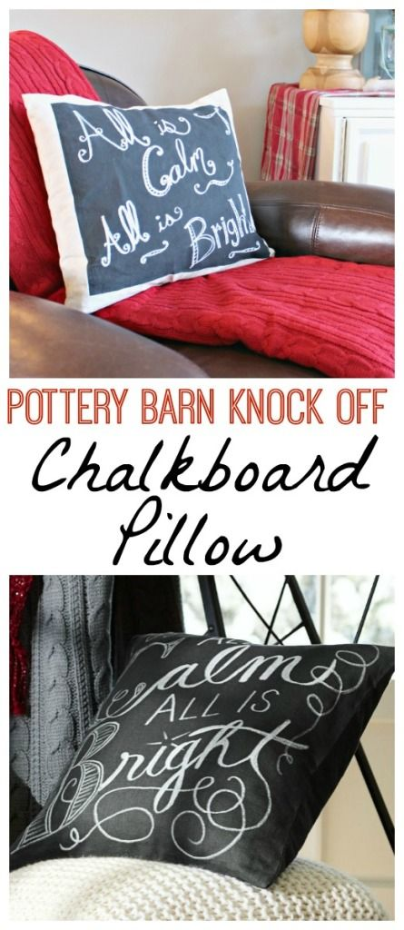 Learn how to make your own thrifty version of this Pottery Barn Chalkboard Pillow with full tutorial at The Happy Housie #PBKnockoff #100Christmasprojects