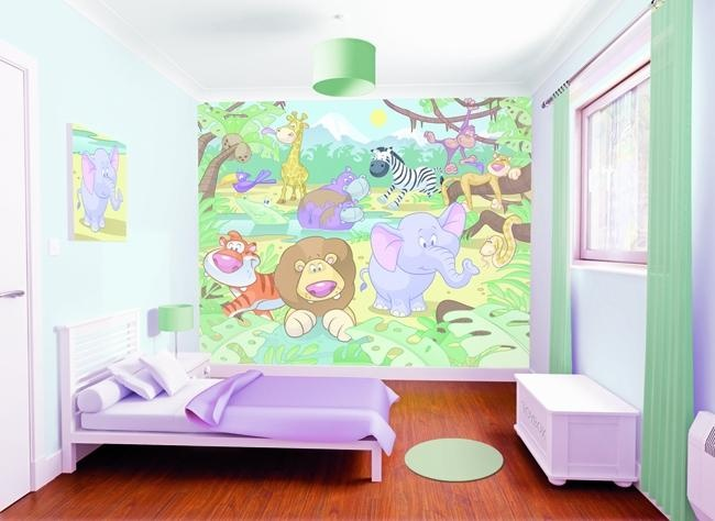 Baby Jungle animals Kids Mural, The new funky design in kids nurseries, available at WolfStock Uk