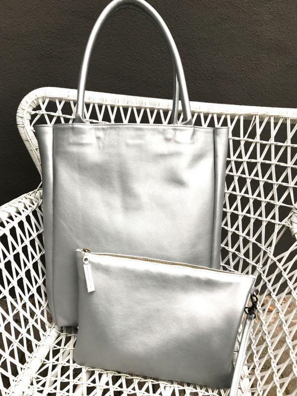 Shopper L kalfsleer zilver