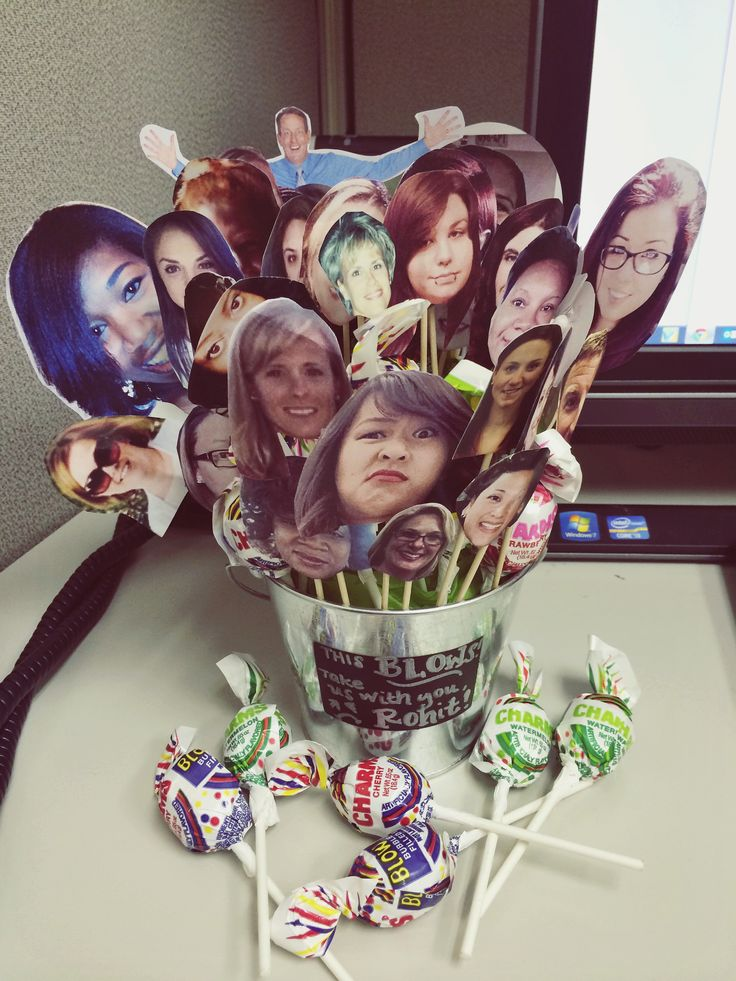 """My own goodbye gift idea :) Blowpop going away present: """"This blows! Take us with you!"""" I cut out everyone's face out and put them on sticks along with blowpops."""