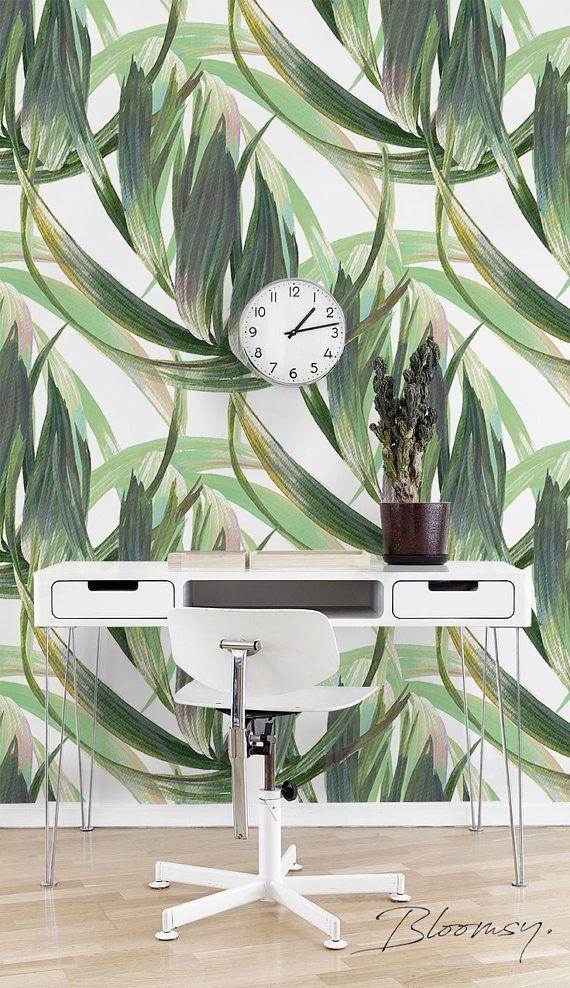 Removable Wallpaper Long Leaves Wallpaper Watercolor Etsy Watercolor Wallpaper Temporary Wallpaper Leaf Wallpaper