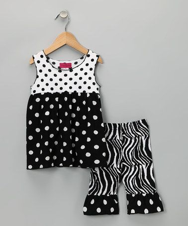Take a look at this Black & White Polka Dot Top & Pants - Infant, Toddler & Girls by Pink Cactus on #zulily today!