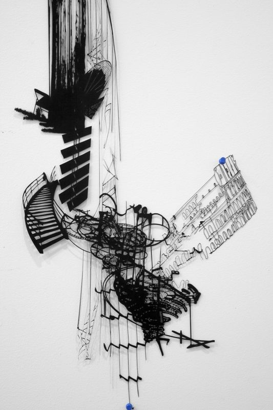 Sarah Sze. Checks and Balances (detail), 2011  Stone, string, and ink on archival paper  75 x 18 x 2 in.