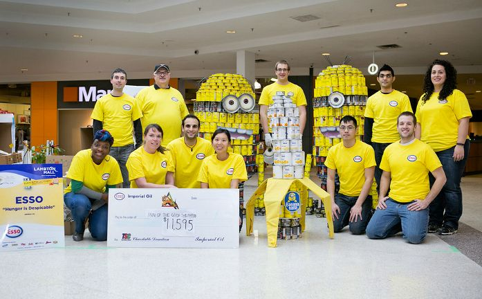The donations have been counted and the #Sarnia community has voted! Are you ready for the results? The 2014 People's Choice CANstruction Winner is... Team Esso's Hunger is Despicable! Woohoo! #Minions #SLont