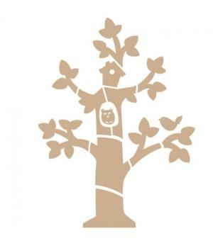 Afmeting 115x155x0,4 cm, platte vorm, 13 delig.Deze MDF boom kan met allerlei materiaal bewerkt worden, zoals verf, stof, papier, behang, enz. Erg leuk als wanddecoratie op de kinderkamer.