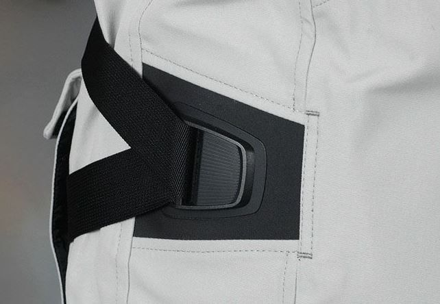 Textile, fabric, water proof, jacket, buckle, strap, stitched, detail