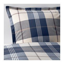 IKEA - KUSTRUTA, Duvet cover and pillowcase(s), Full/Queen (Double/Queen), , Yarn-dyed; the yarn is dyed before weaving; gives the bedlinens a soft feel.Decorative buttons keep the comforter in place.