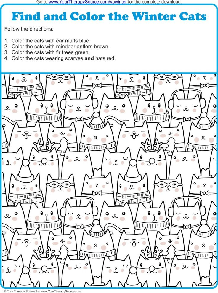 Find and Color the Winter Cats – YourTherapySource
