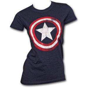Captain America Faded Shield Navy Juniors Graphic Tee Shirt - TeesForAll.com